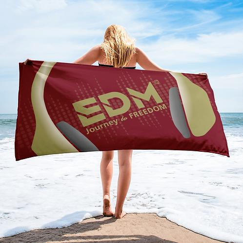 Beach / Bath Towel - EDM J to F Headphones Gold - Burgundy