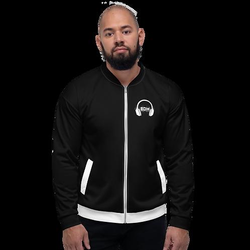 Men's Unisex Fit Bomber Jacket - EDM J to F - Black / White DJ Style