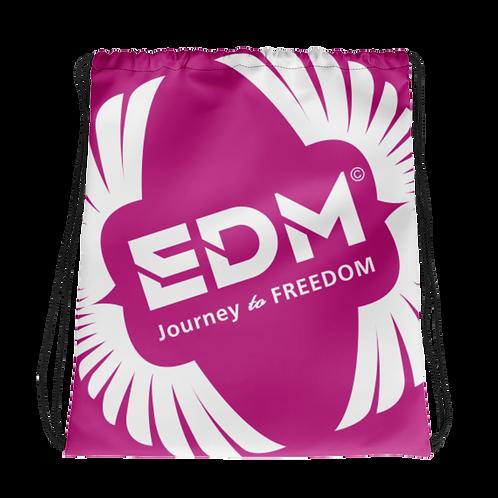 Dark Pink Drawstring Bag - EDM Journey to Freedom Large Print - White