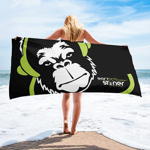 Beach Towel / Towel - GS Music Academy Ape DJ Green - Black