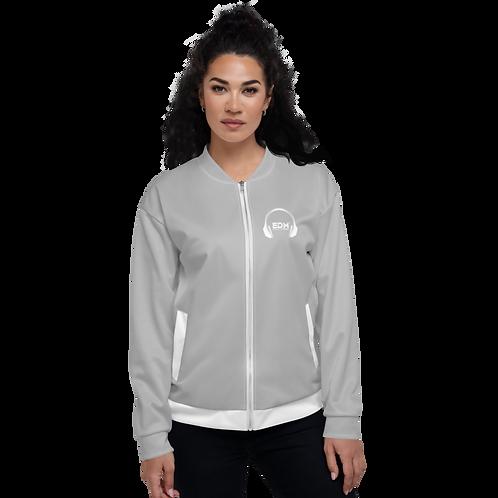Women's Unisex Fit Bomber Jacket - EDM J to F - Grey / White DJ Style