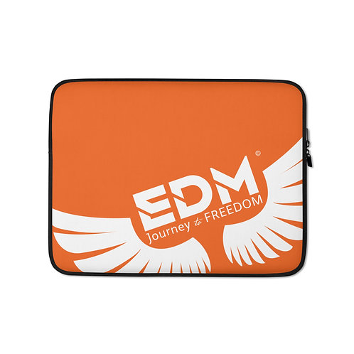 "Orange Laptop Sleeve - 13"", 15"" - EDM Journey to Freedom Print - White"