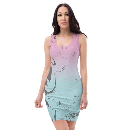 Body Con Dress - EDM J to F Pink/Blue Gradient Swirl - Charcoal