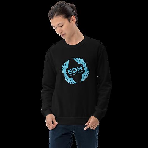 Men's Sweatshirt - EDM J to F Square Wings Logo - Blue / Various