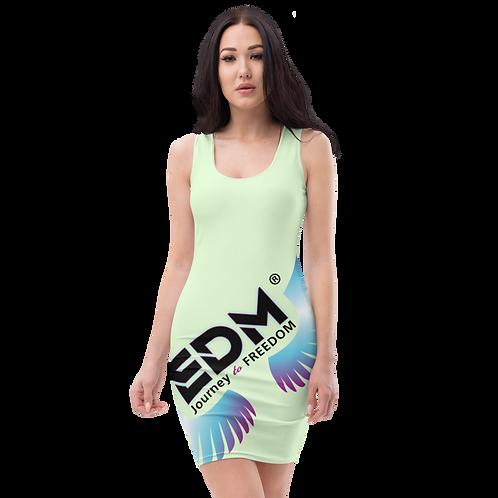 Body Con Dress - EDM J to F Logo Multi - Mint Green