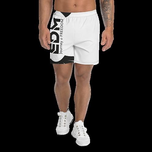 Men's White Long Shorts - EDM Journey to Freedom Print - Black