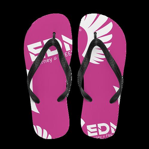 Flip-Flops Dark Pink / Black EDM Journey to Freedom Print - White