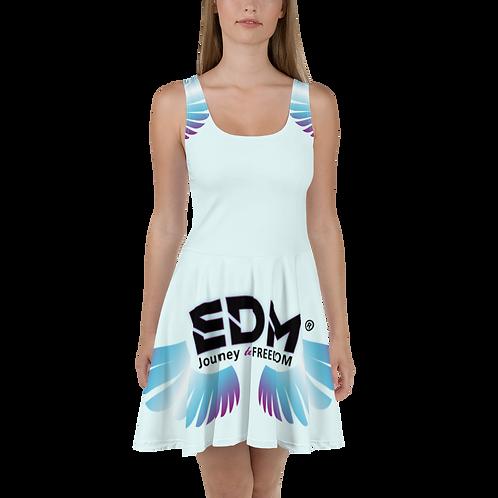 Womens Skater Dress - EDM J to F Multi Logo - Ice Blue
