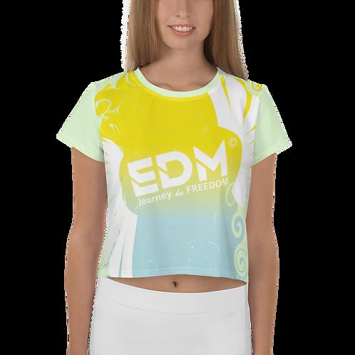Women's Crop Top - EDM J to F Gradient Swirl Yellow/Blue Large Logo White - Mint