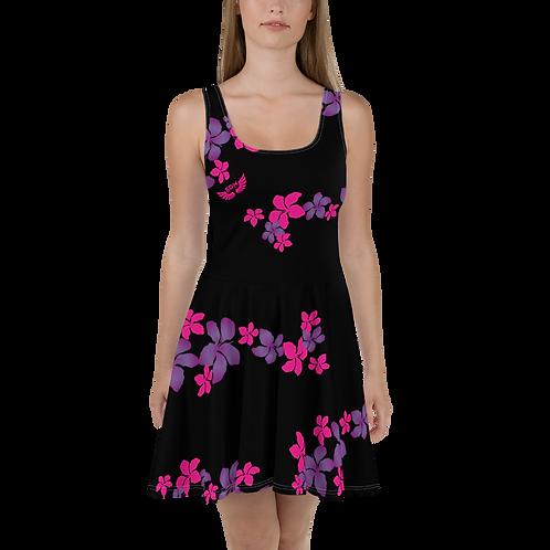 Women's Skater Dress Flower Top Pattern Print - Black