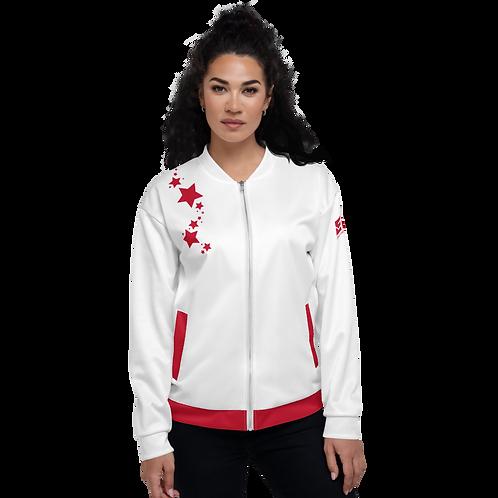 Women's Unisex Fit Bomber Jacket - EDM J to F - White Dark Red Star
