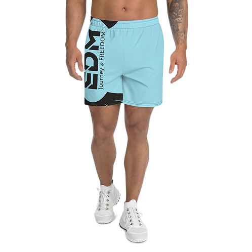 Men's Sky Blue Long Shorts - EDM Journey to Freedom Print - Black