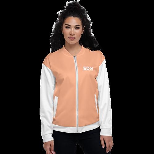 Women's Unisex Fit Bomber Jacket - EDM Journey to Freedom White / Peach Orange