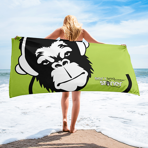 Beach Towel / Towel - GS Music Academy Ape DJ White - Green