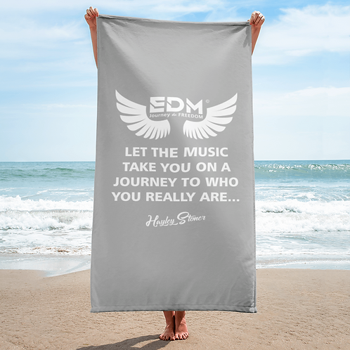 Beach Towel / Towel - EDM J to F Slogan Print White - Grey