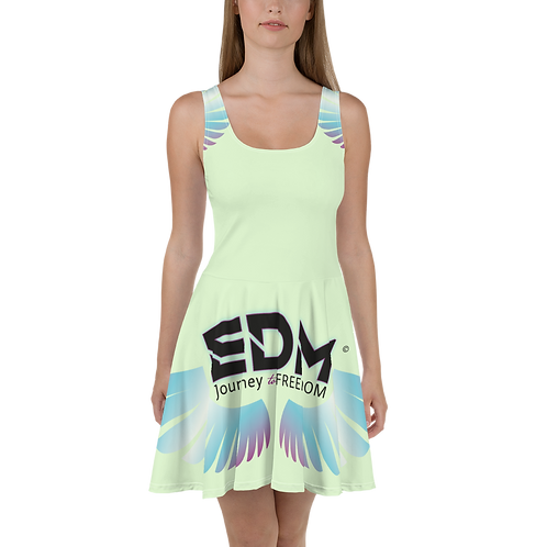Womens Mint Skater Dress EDM Journey to Freedom Print Style 3 - Multi