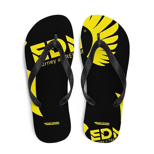 Flip-Flops Black EDM Journey to Freedom Print - Yellow