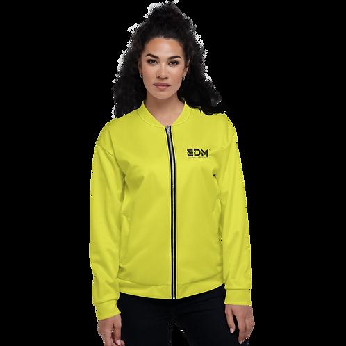 Women's Unisex Fit Bomber Jacket - EDM Journey to Freedom Lime Yellow / Black