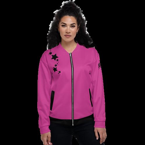 Women's Unisex Fit Bomber Jacket - EDM J to F Dark Pink - Black Star