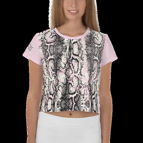 Womens Crop Top - EDM J to F Snake Print - Pink Sleeves