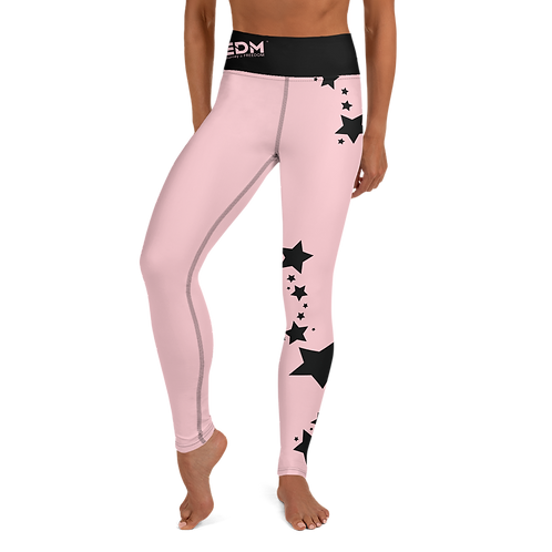 Women's Leggings Black Star - EDM J to F Baby Pink