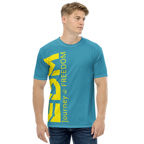 Men's T-shirt Blue Teal - EDM Journey to Freedom Large Print - Yellow