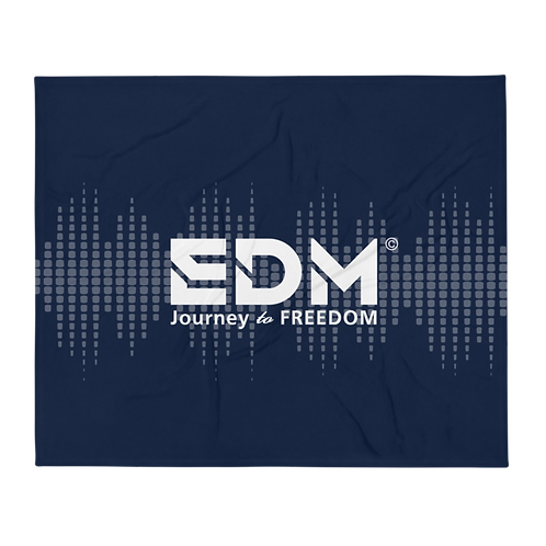 Fleece Throw Blanket - 50 x 60cm - EDM J to F Sound bars - Navy / White