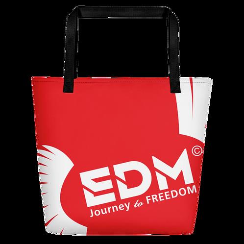 Beach Bag - Red EDM Journey to Freedom Print - White