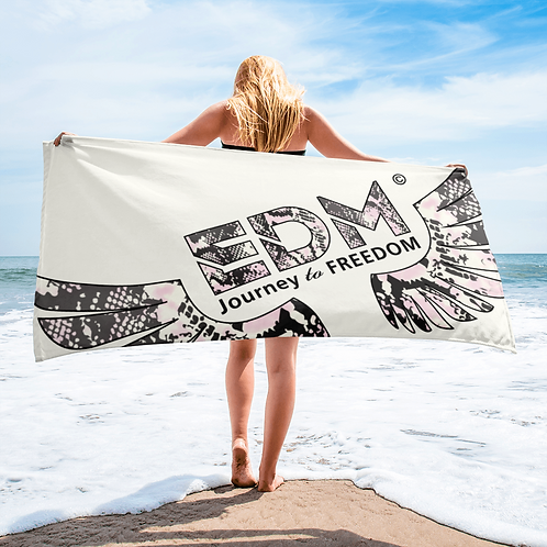 Beach Towel / Towel - EDM J to F Snake Print Logo - Cream
