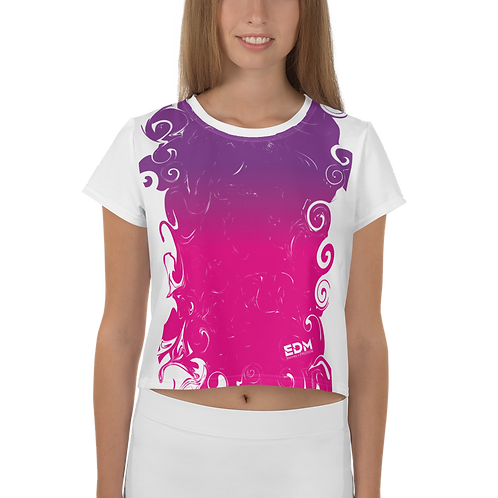 Women's Crop Tee - Gradient Hot Pink/Purple/White - EDM J to F Small Logo White
