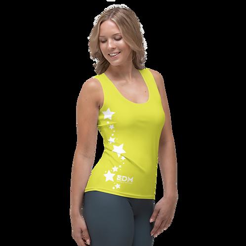 Women's Vest - EDM J to F White Star - Lime Yellow