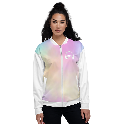 Women's Unisex Fit Bomber Jacket-EDM J to F Sound Bars-Tye Dye Pastels/White