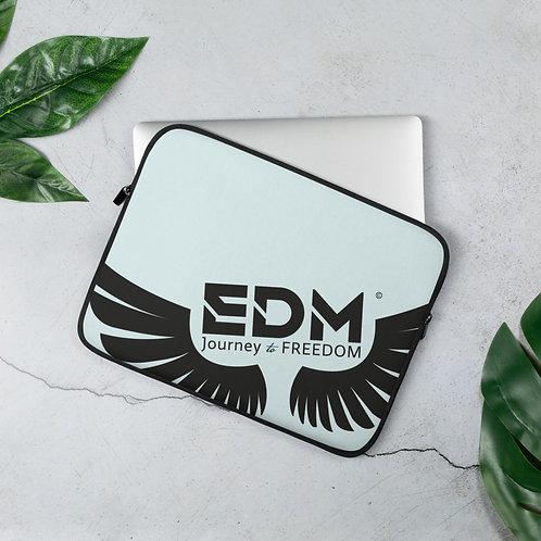 "Ice Blue Grey Laptop Sleeve - 13"", 15"" - EDM Journey to Freedom Print - Black"