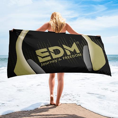 Beach / Bath Towel - EDM J to F Headphones Gold - Black