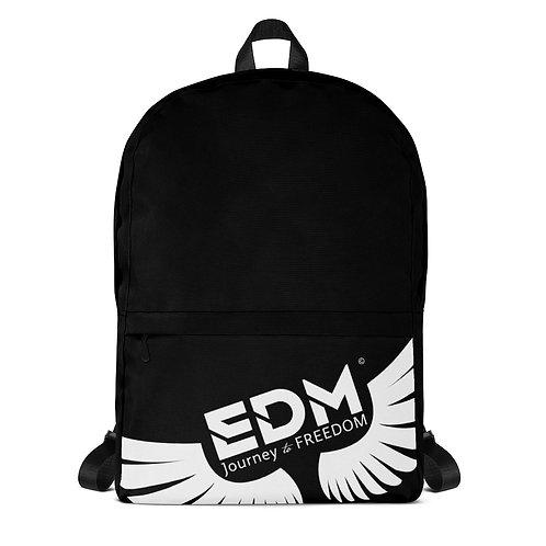 Backpack Black - EDM Journey to Freedom Print - White