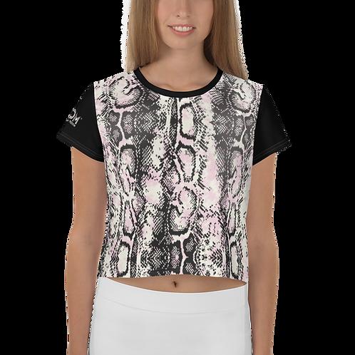 Womens Crop Top - EDM J to F Snake Print - Black Sleeves