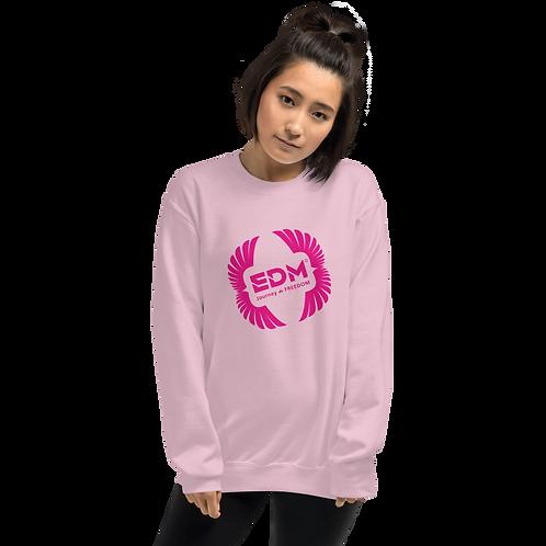 Women's Sweatshirt - EDM J to F Square Wings Logo - Hot Pink / Various