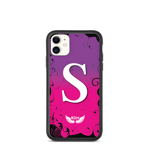 Biodegradable iPhone case-Purple/Pink/ White- EDM J to F -Personalised Initial