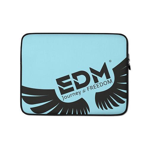 "Sky Blue Grey Laptop Sleeve - 13"", 15"" - EDM Journey to Freedom Print - Black"