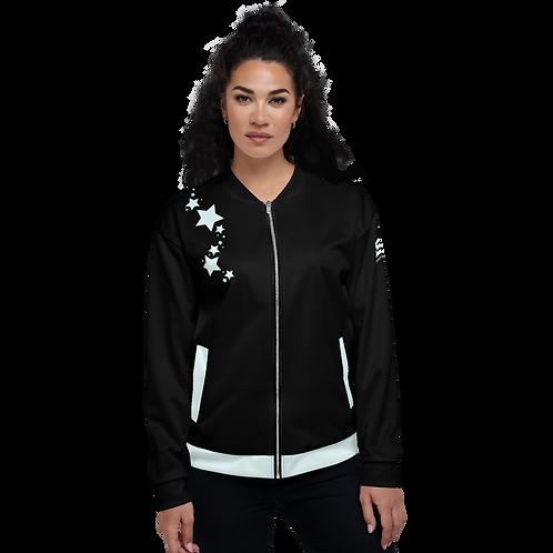Women's Unisex Fit Bomber Jacket - EDM J to F Black - Ice blue Star
