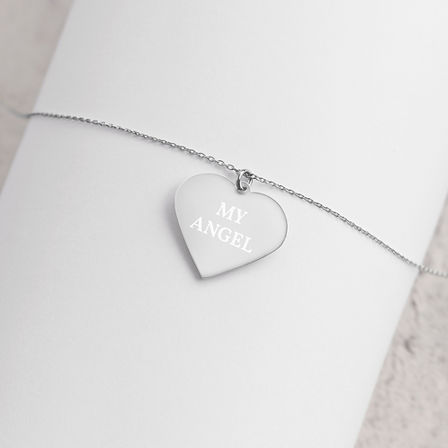 Engraved Silver / Rose Gold Heart Necklace - 'MY ANGEL'