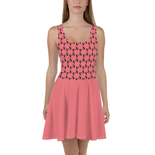 Coral Skater Dress EDM Journey to Freedom Skirt Pattern Print - Black