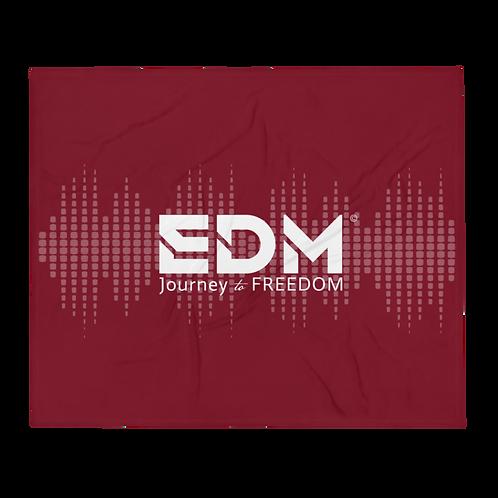 Fleece Throw Blanket - 50 x 60cm - EDM J to F Sound bars -Burgundy / White
