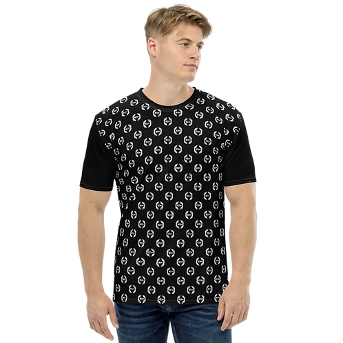 Men's T-shirt Black - EDM Journey to Freedom Small Pattern Print - White