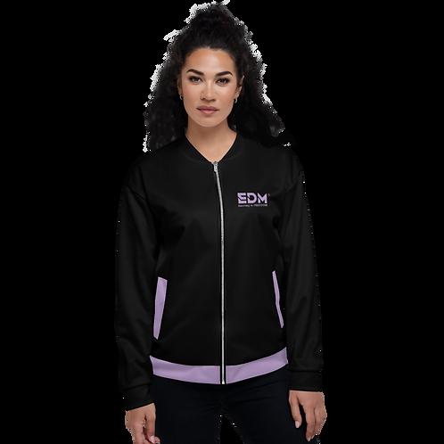 Womens Unisex Fit Bomber Jacket - EDM Journey to Freedom Black / Purple