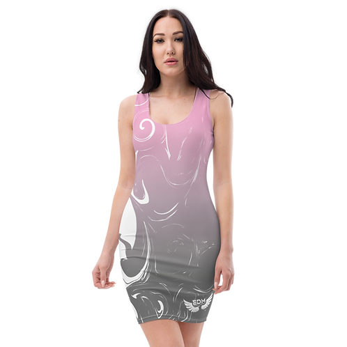 Body Con Dress - EDM J to F Pink/Grey Gradient Swirl - White