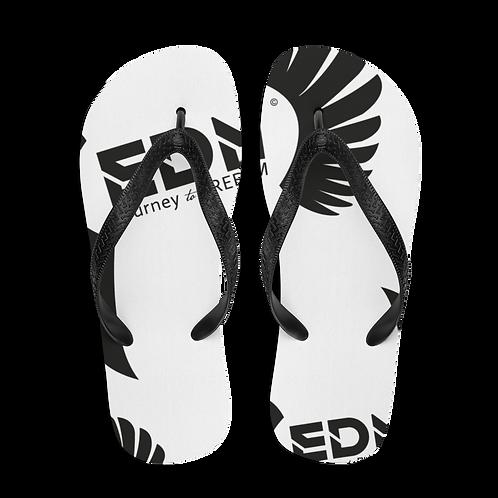 Flip-Flops White EDM Journey to Freedom Print - Black