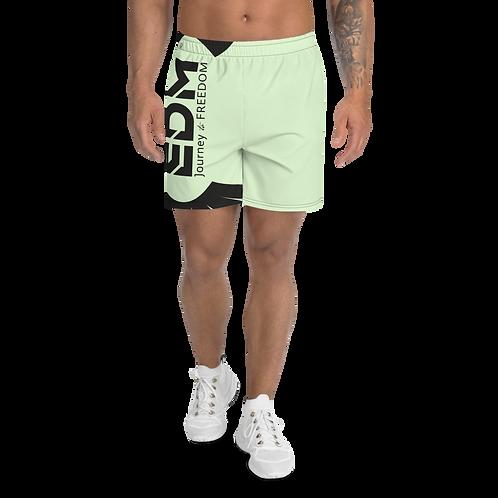 Men's Mint Green Long Shorts - EDM Journey to Freedom Print - Black
