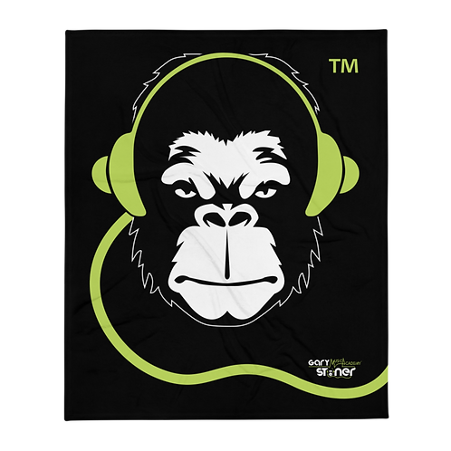 Fleece Throw Blanket - GS Music Academy Ape DJ - Black copy
