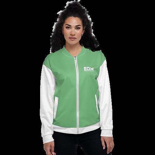Women's Unisex Fit Bomber Jacket - EDM Journey to Freedom White / Green